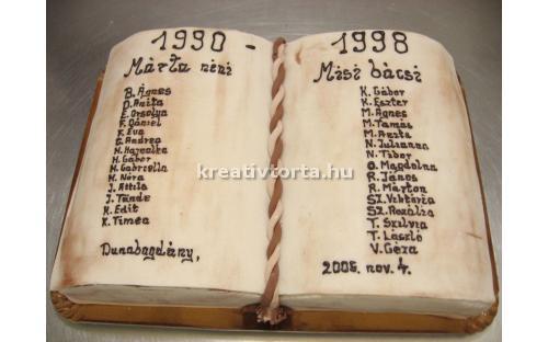 Könyv torta ALK2058 - erre az alkalmi torta kódra hivatkozzon! Telefon: +36 1 318 8315